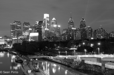 Sean Pinto photoGRAPHY - Philadelphia city skyline from the South St. Bridge - in B/W