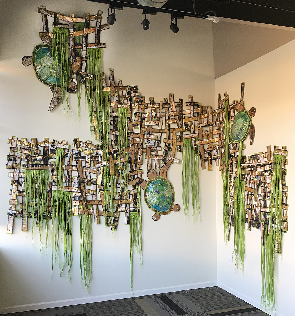 Erik Jon Olson - Navigating the Gallows 2019 approximately 150 square feet (Maple Grove Art Center installation)