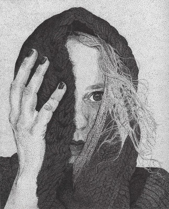 My Artwork - Self Portrait. Pen and ink. 10 x 8. Stippling/pointillism.