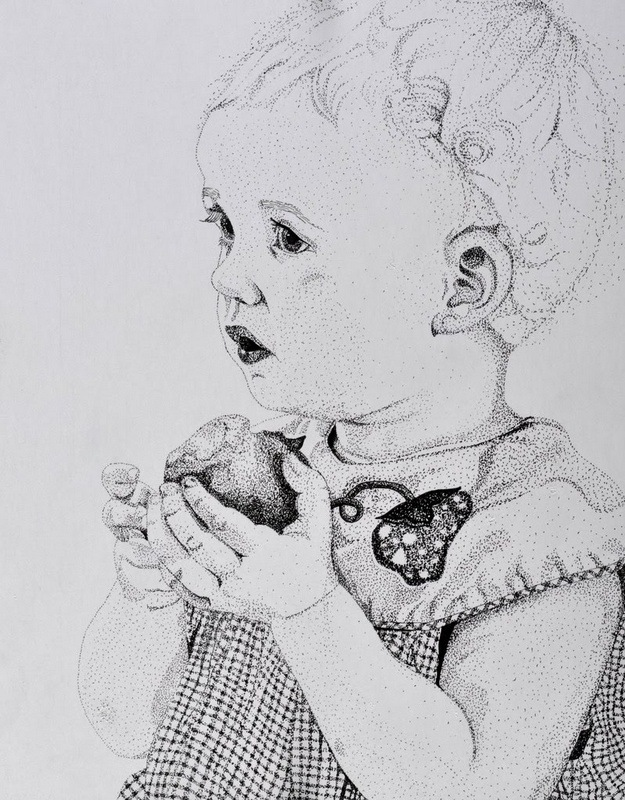 My Artwork - Shannon. Pen and ink. Stippling/pointillism. 11 x 8.5.