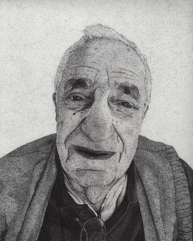 My Artwork - Grandpa. Pen and ink. 10 x 8. Stippling/pointillism.