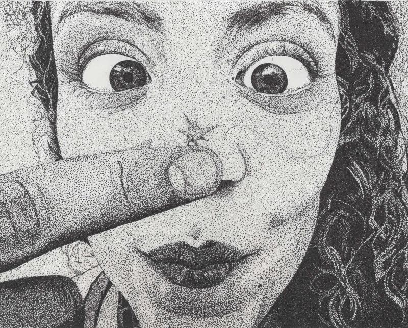 My Artwork - Maggie. Pen and ink. Stippling/pointillism.