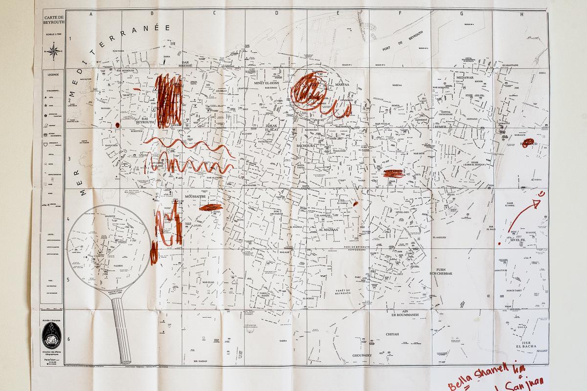 Adrienne Surprenant - Carte des lieux que Bella connaît à Beyrouth, où elle travaille depuis un peu plus dun an.