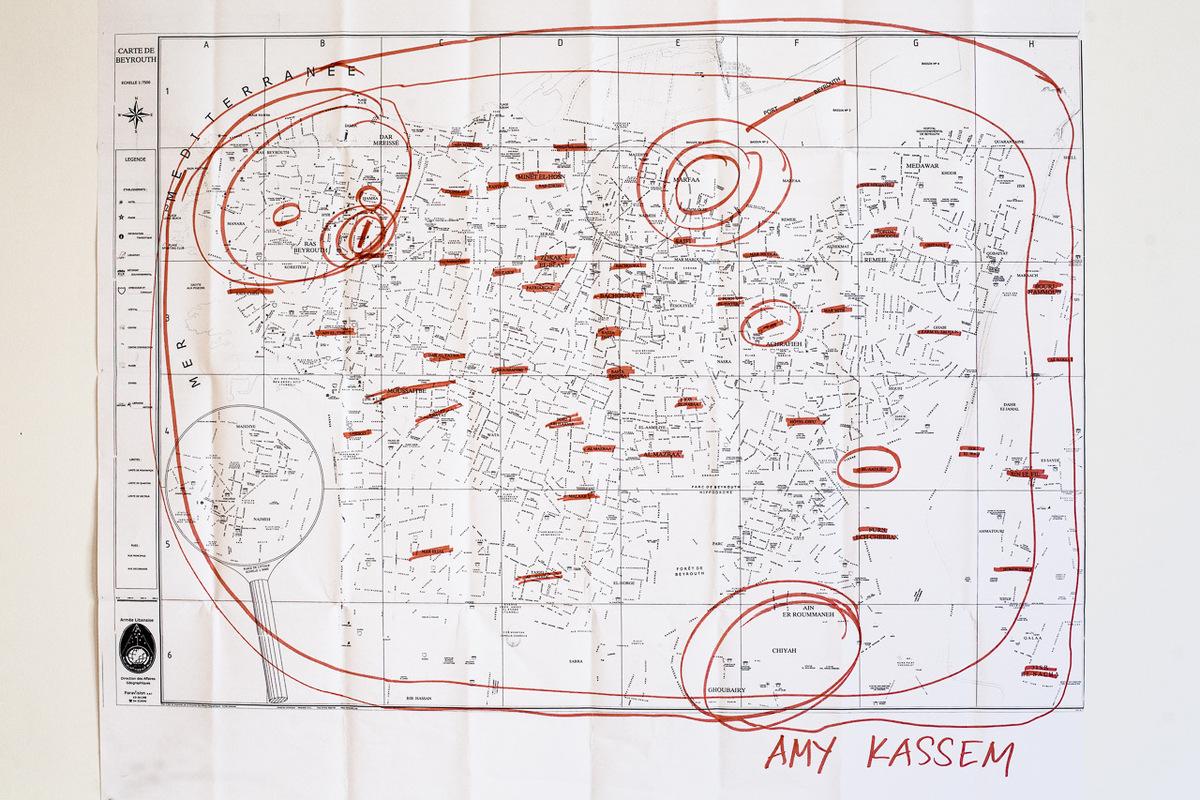 Adrienne Surprenant - Carte des lieux que Amy connaît à Beyrouth, où elle vit depuis plus de 20 ans.