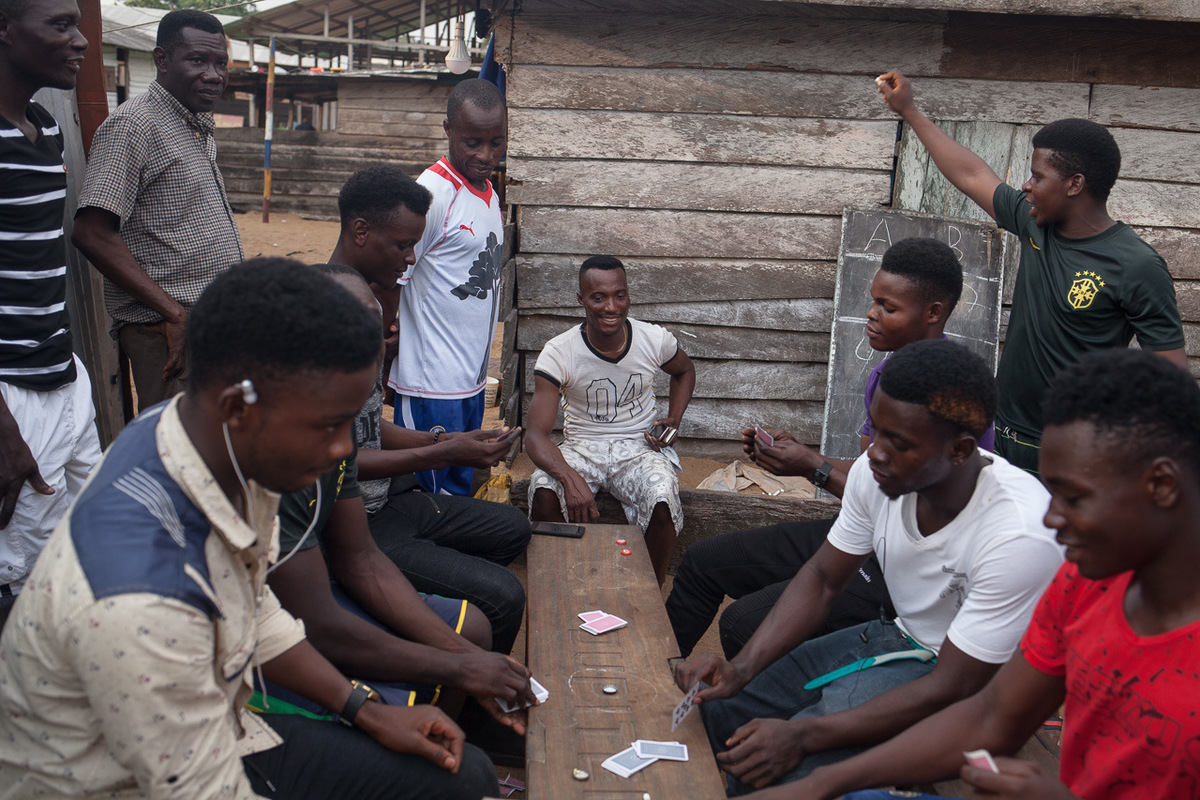 Adrienne Surprenant - The fisherman from Jupiter company, owned by a man from Benin, play cards at night. They are all housed and fed at night by the company. If someone is hurt or get sick while at sea, the hospital fees are paid by the company.