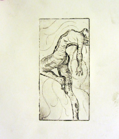 Jessica Cherry - Ecstasy, 2014 Etching 5x3 inches