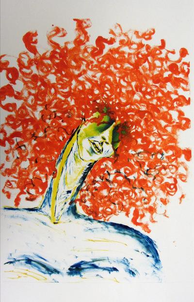 Jessica Cherry - Ascend, 2014 Monoprint 18x24 inches