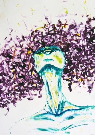 Jessica Cherry - Inhale, 2014 Monoprint 18x24 inches