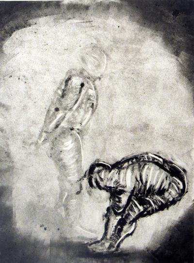 Jessica Cherry - Genuflection, 2014 Monoprint 11x16 inches