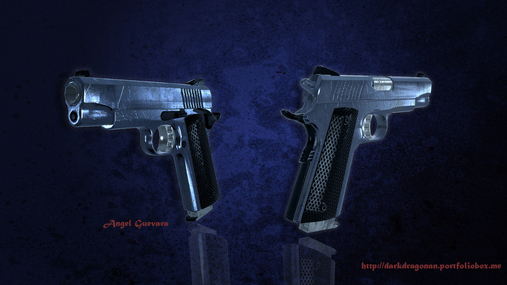 Angel Guevara Art - This is a Ruger Pistol I did for a Zombie game several months back. I was not happy with the final result base on the limitation I was giving at the time, so I am going to be fixing some issues I was having and re-textures.