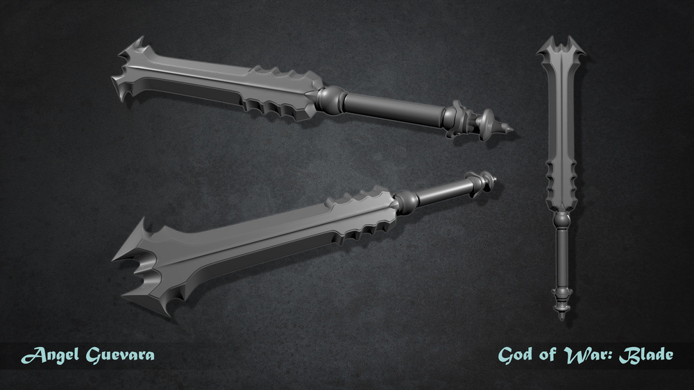 Angel Guevara Art - This sword is from a concept art for God of War 3 that I found in Pinterest. I though it was a cool design, so I give it a try. For now its on my work in progress (WIP) tap.