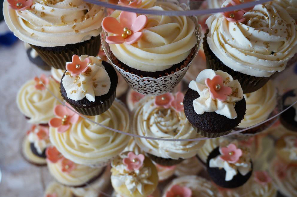 Simply Cakes - Cupcake + Damask Topper with Chocolate, Vanilla, and Red Velvet large and mini cupcakes