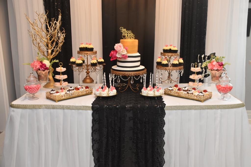 Simply Cakes - Dessert table with cake, cupcakes, and cake pops. Decor by Elaborate Creations