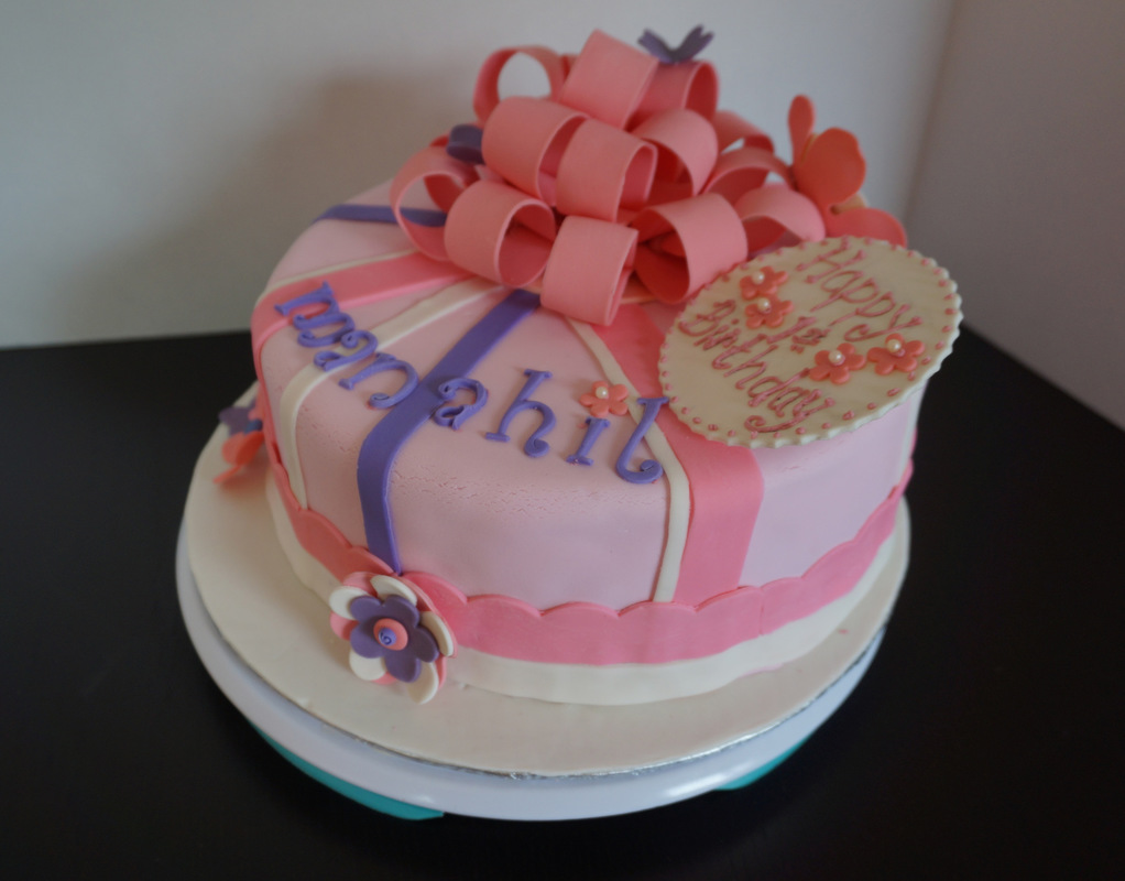 Simply Cakes - First birthday Chocolate Mud cake with pink bow topper