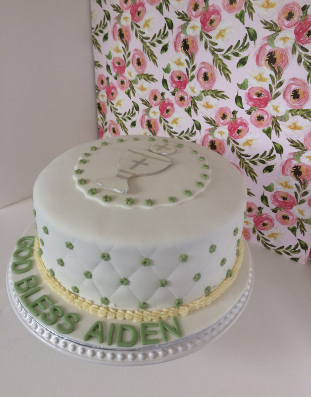 Simply Cakes - First communion cake with green details