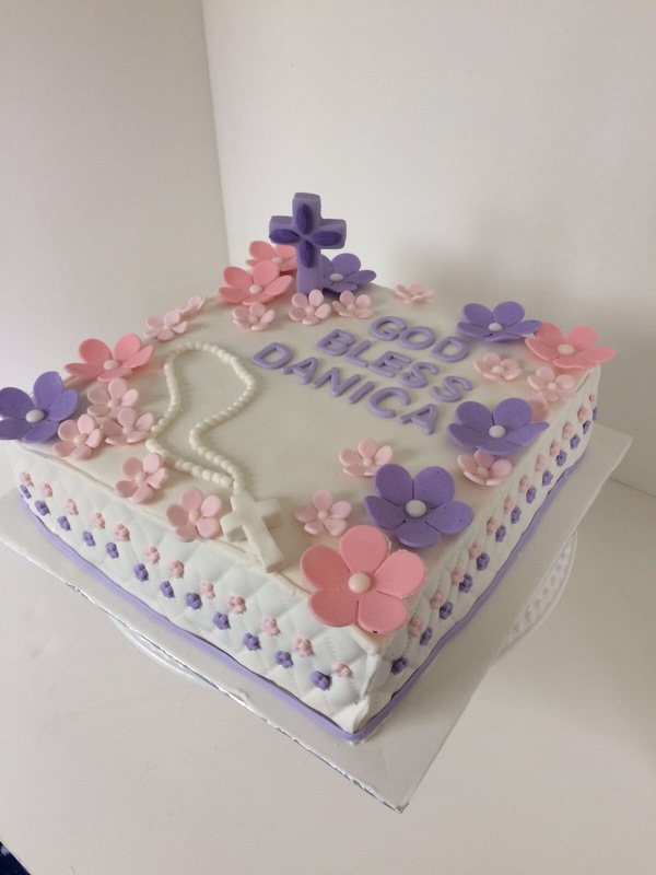 Simply Cakes - First communion cake with pink and purple flowers