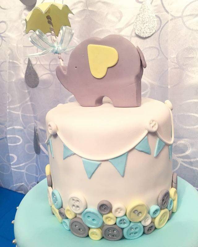 Simply Cakes - Elephant themed baby shower with button detailing and quilting