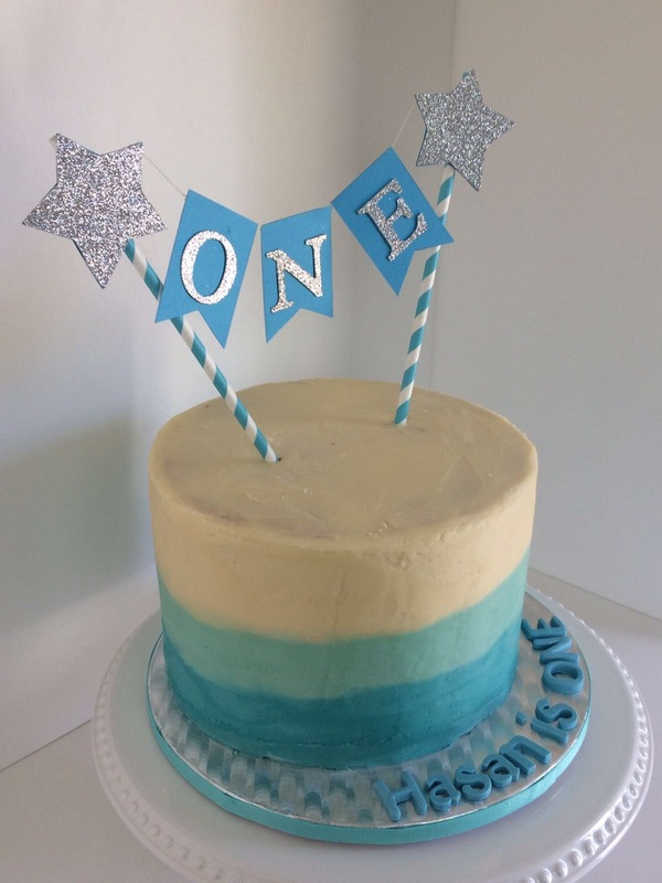 Simply Cakes - First birthday ombre butter cream cake with custom topper