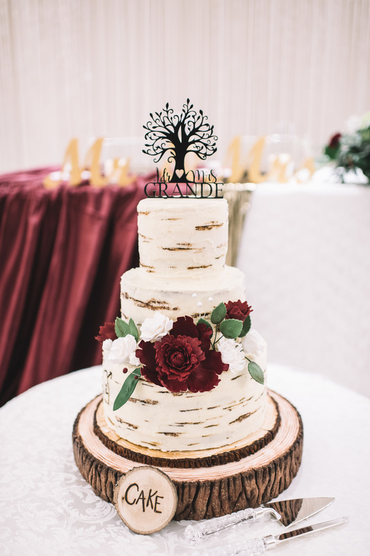 Simply Cakes - Rustic themed wood cake with peonies, roses, and custom topper