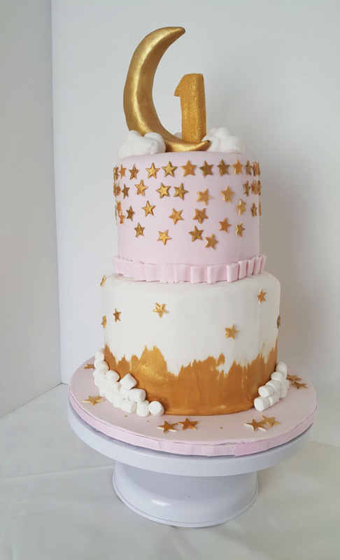 Simply Cakes - Twinkle Twinkle 2 tier cake with moon, clouds, #1 topper
