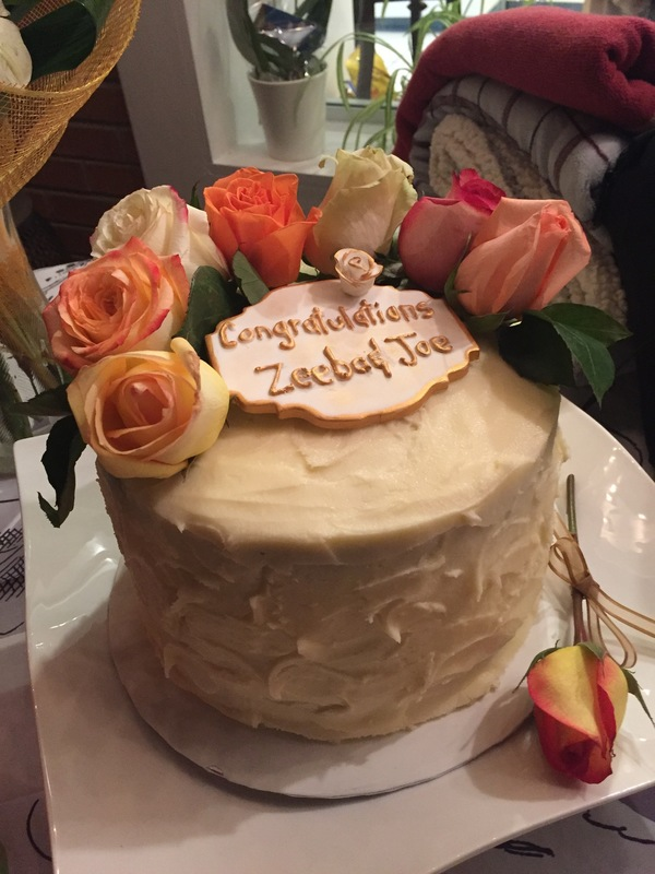 Simply Cakes - Engagement party cake with cream cheese frosting and fresh flowers