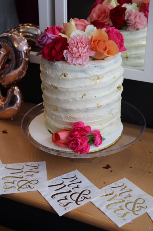 Simply Cakes - Bridal shower cake with gold leaf details and fresh flowers