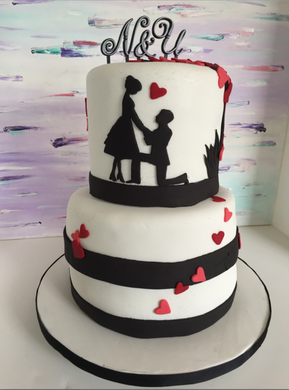 Simply Cakes - Silhouette cake with heart tree for an engagement party!