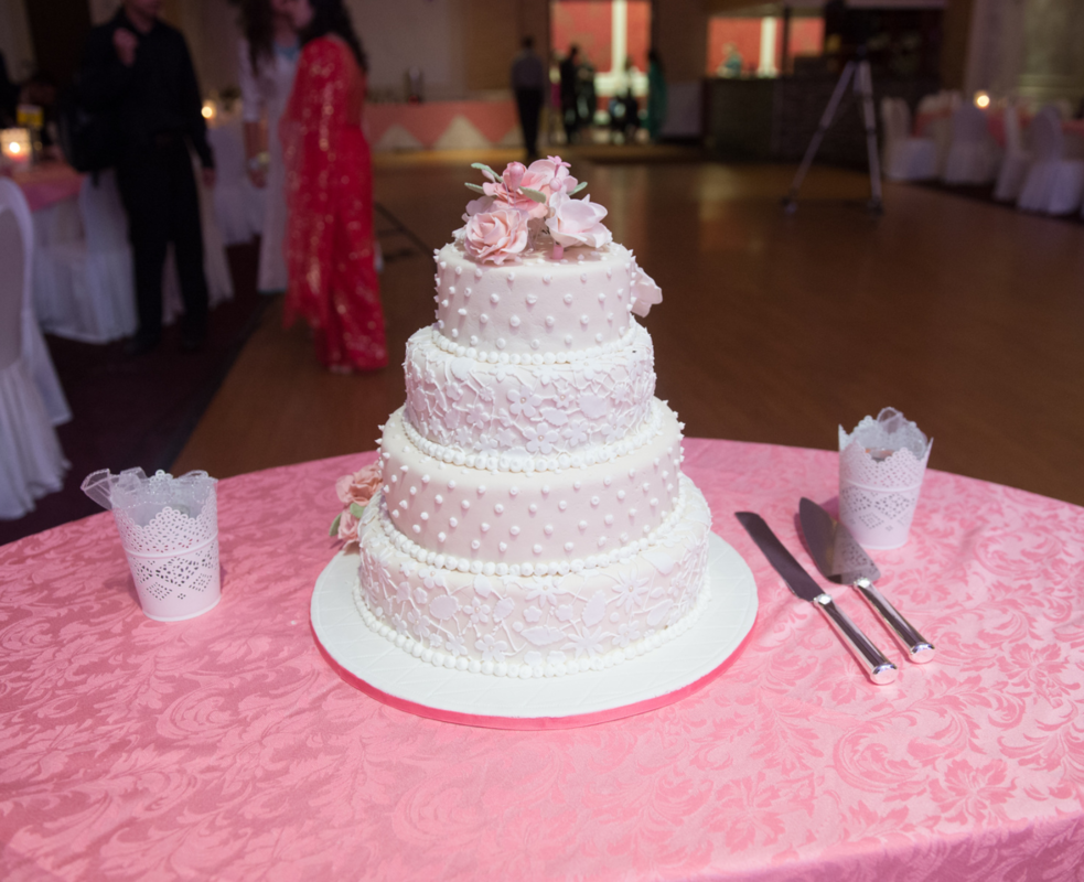 Simply Cakes - Roses are Forever 4 tiered wedding cake with lace detailing