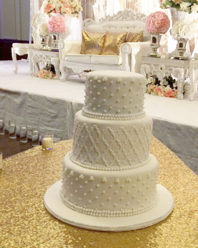 Simply Cakes - Simple yet elegant 3 tiered white wedding cake with Moroccan design