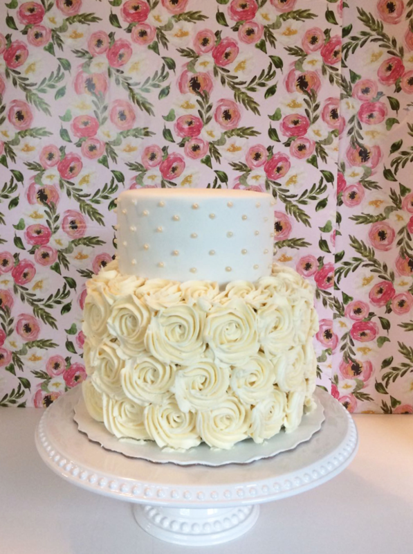 Simply Cakes - Two tiered bridal shower cake with rosettes and pearl detailing