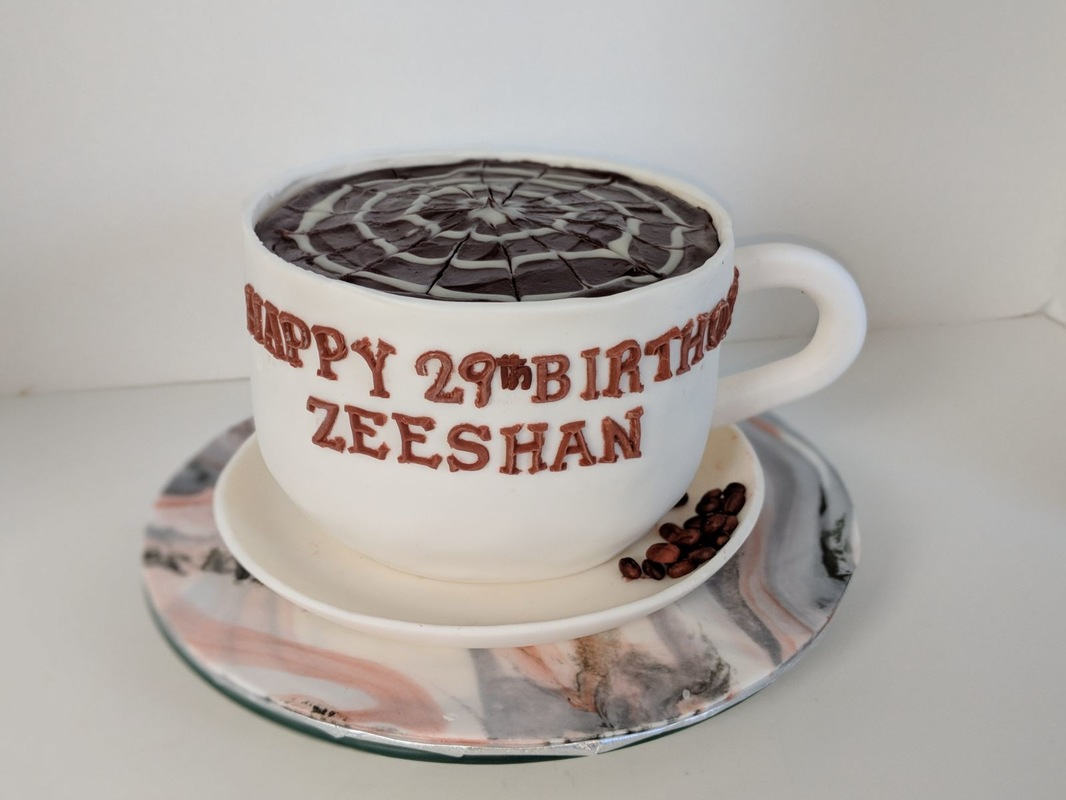 Simply Cakes - Coffee addict latte cake with marbled cake board