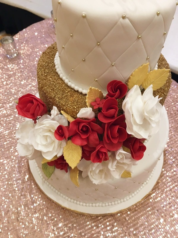 Simply Cakes - 3 tiered wedding cake with flower embellishment and custom topper