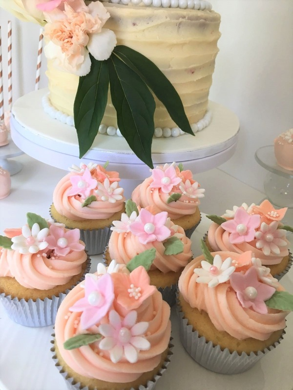 Simply Cakes - Floral Bridal Shower cake cupcakes