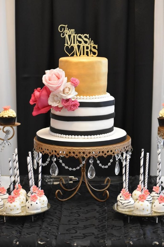 Simply Cakes - Kate Spade themed cake 2 tiered cake with fresh flowers