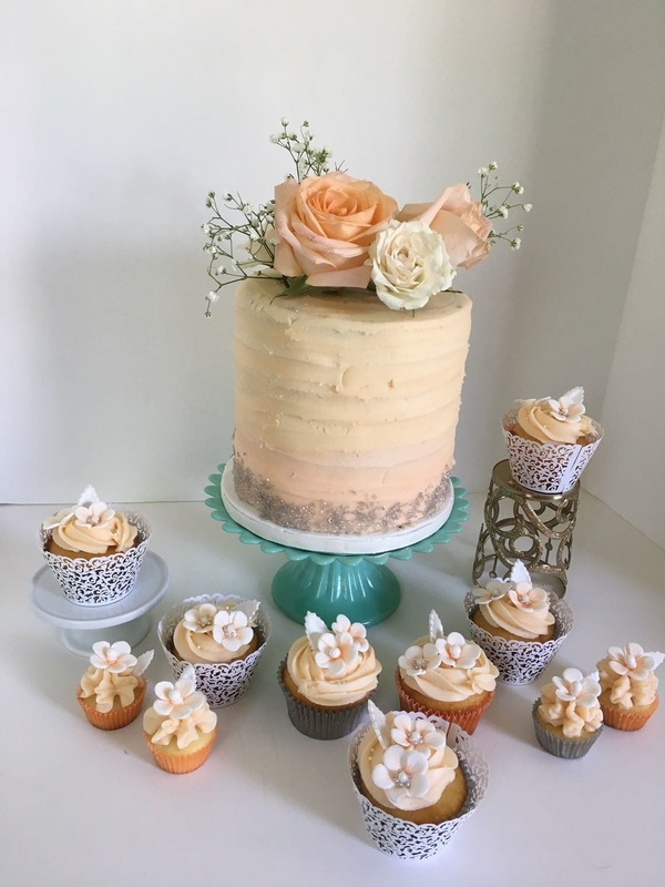 Simply Cakes - A peach cake & cupcake duo for an intimate wedding ceremony