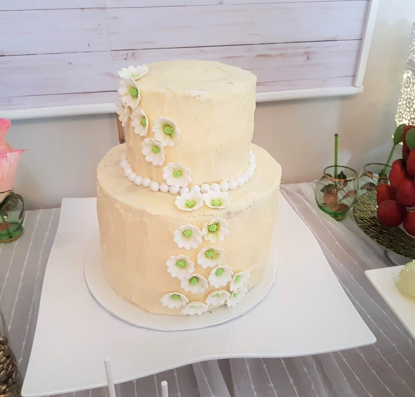 Simply Cakes - Rustic bridal shower buttercream cake with flower accents