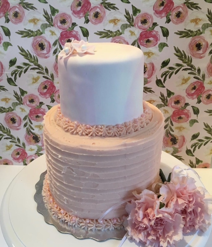Simply Cakes - Pink and white buttercream & fondant cake with fresh flowers for a Baptism