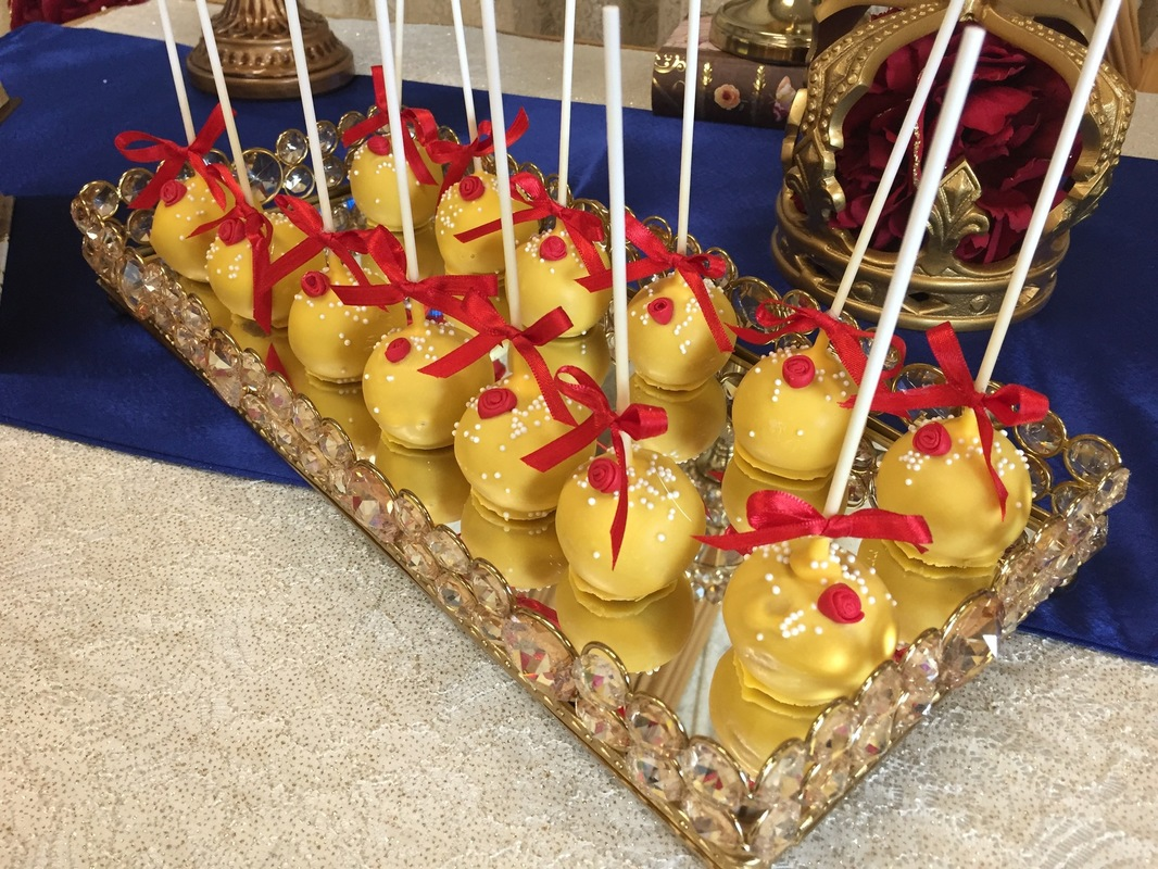 Simply Cakes - Yellow cake pops with rose detail