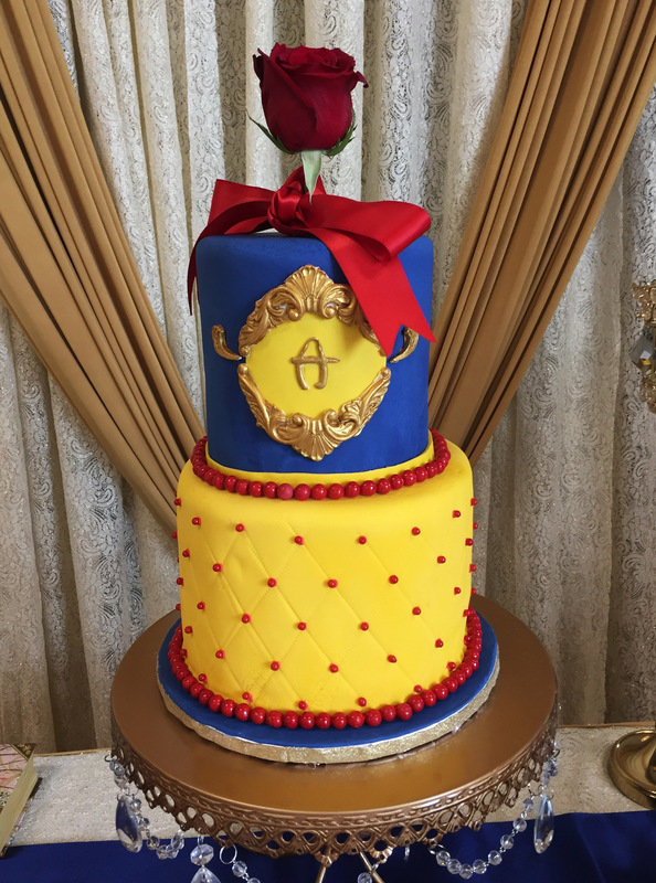 Simply Cakes - Two tier fondant cake with monogram and rose topper