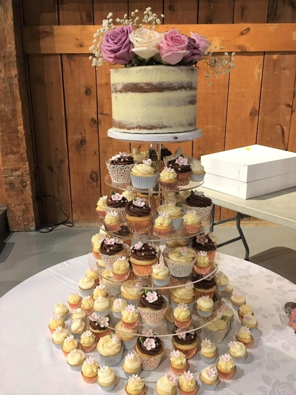 Simply Cakes - Wedding cupcake tower with naked cake topper.