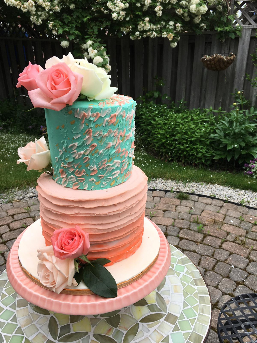 Simply Cakes - 2 tiered ombre and painted effect cake, love the colours!
