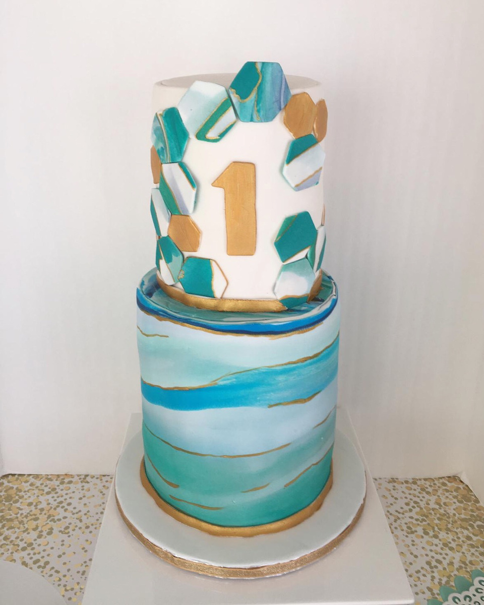 Simply Cakes - Geometric marble first birthday cake with gold accents