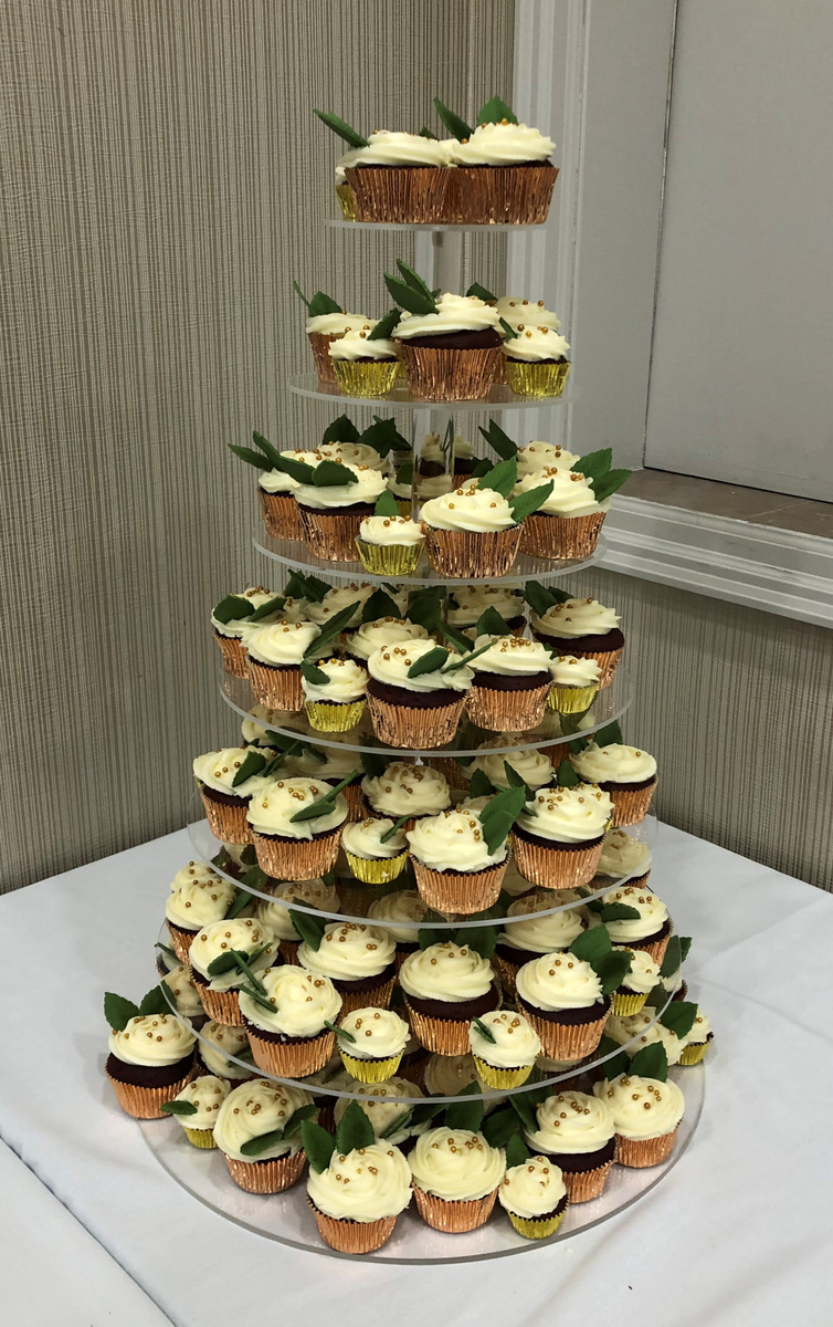 Simply Cakes - Wedding cupcake tower with rose gold and leaf accents