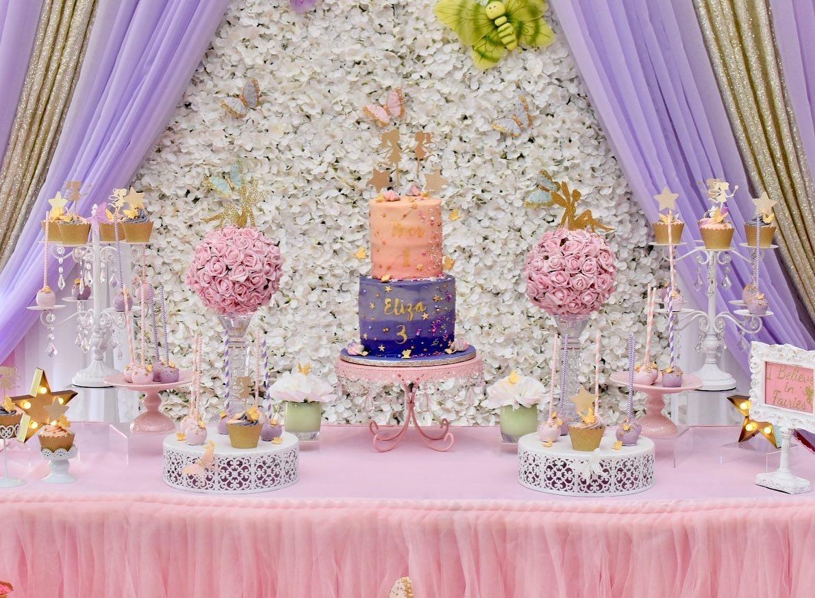 Simply Cakes - Full fairy themed dessert table (decor by Elaborate Creations)