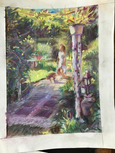 Angresano Studio - Color study for the painting, The Birch Arbor , 8 x 6 Pastel