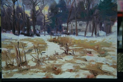 Angresano Studio -  Early Winter Closter Farm 9x12 Oil