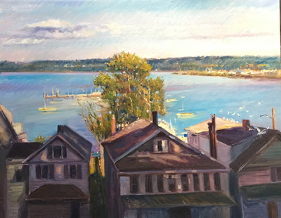 Angresano Studio -  A View of the Hudson from Piermont NY  22 x 28 Oil