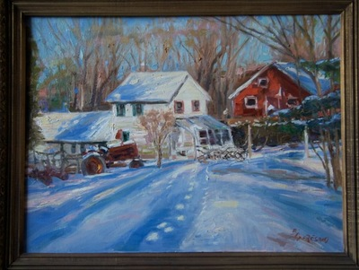 Angresano Studio -  The Red Barn in Winter 16x 20  Oil