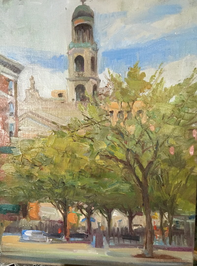 Angresano Studio - Father Demo Square Greenwich Village NYC 16 x20 Oil