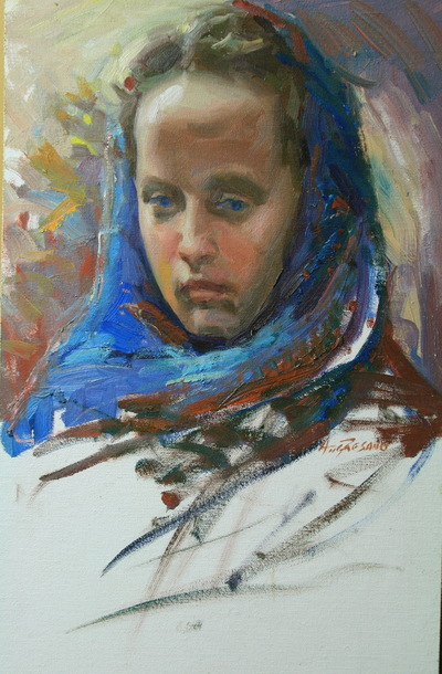 Angresano Studio -  The Blue Hood 18 x12